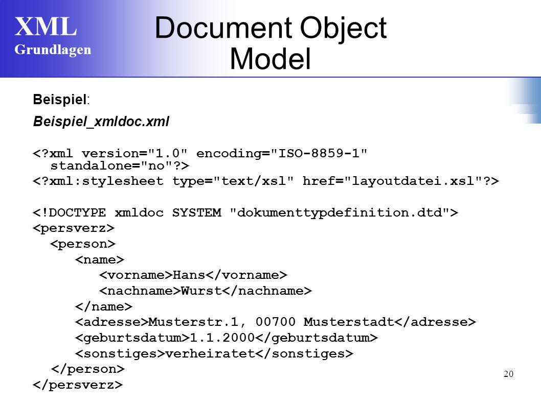 XML Grundlagen 20 Document Object Model Beispiel: Beispiel_xmldoc.xml Hans Wurst Musterstr.1, 00700 Musterstadt 1.1.2000 verheiratet