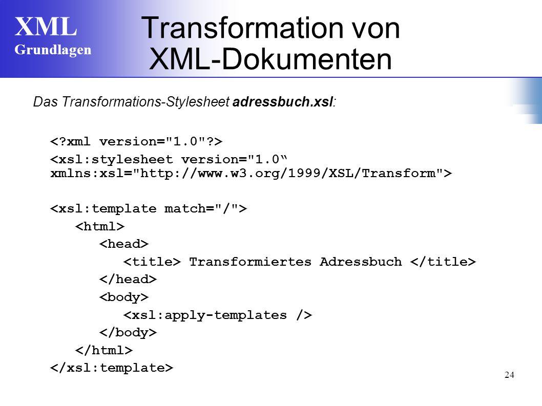 XML Grundlagen 24 Transformation von XML-Dokumenten Das Transformations-Stylesheet adressbuch.xsl: Transformiertes Adressbuch