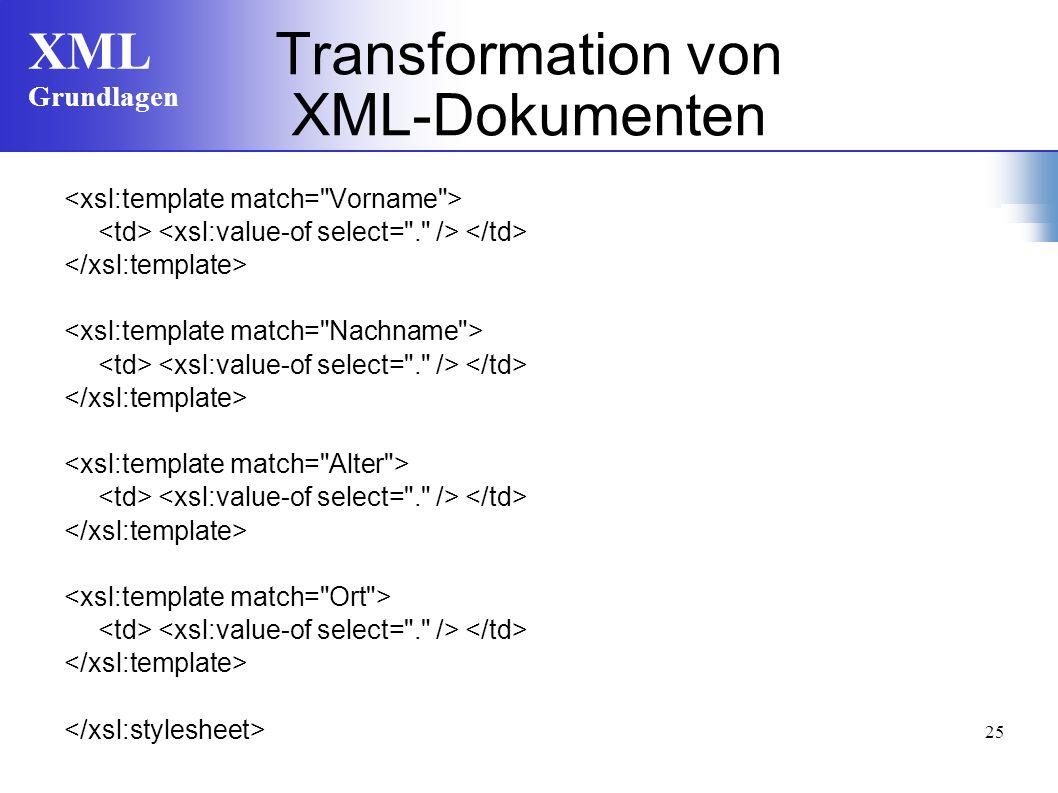 XML Grundlagen 25 Transformation von XML-Dokumenten