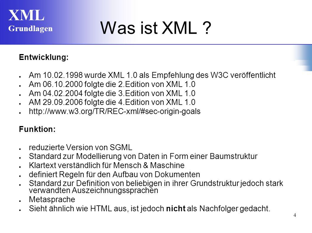 XML Grundlagen 4 Was ist XML ? Entwicklung: Am 10.02.1998 wurde XML 1.0 als Empfehlung des W3C veröffentlicht Am 06.10.2000 folgte die 2.Edition von X
