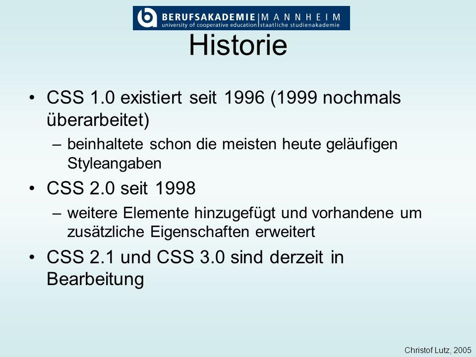 Christof Lutz, 2005 Historie CSS 1.0 existiert seit 1996 (1999 nochmals überarbeitet) –beinhaltete schon die meisten heute geläufigen Styleangaben CSS