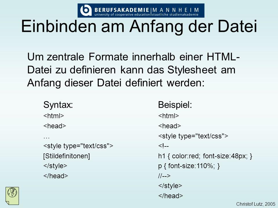 Christof Lutz, 2005 Externe CSS-Dateien Externe CSS-Dateien bieten den Vorteil, dass mehrere HTML-Dateien mit gleichen Stilvorlagen definiert werden können: Es wird eine Datei mit der Endung.css erstellt, in der die Styles definiert werden.