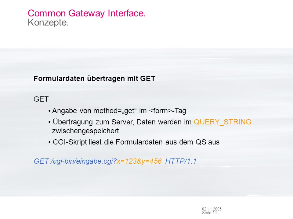 Seite Common Gateway Interface. Konzepte.