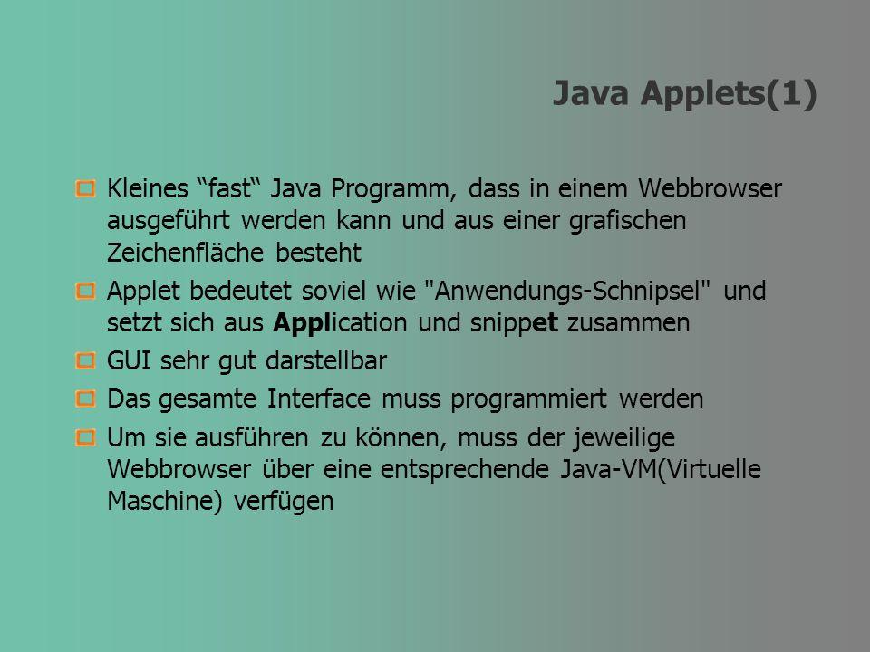 Java Applets(1) Kleines fast Java Programm, dass in einem Webbrowser ausgeführt werden kann und aus einer grafischen Zeichenfläche besteht Applet bede