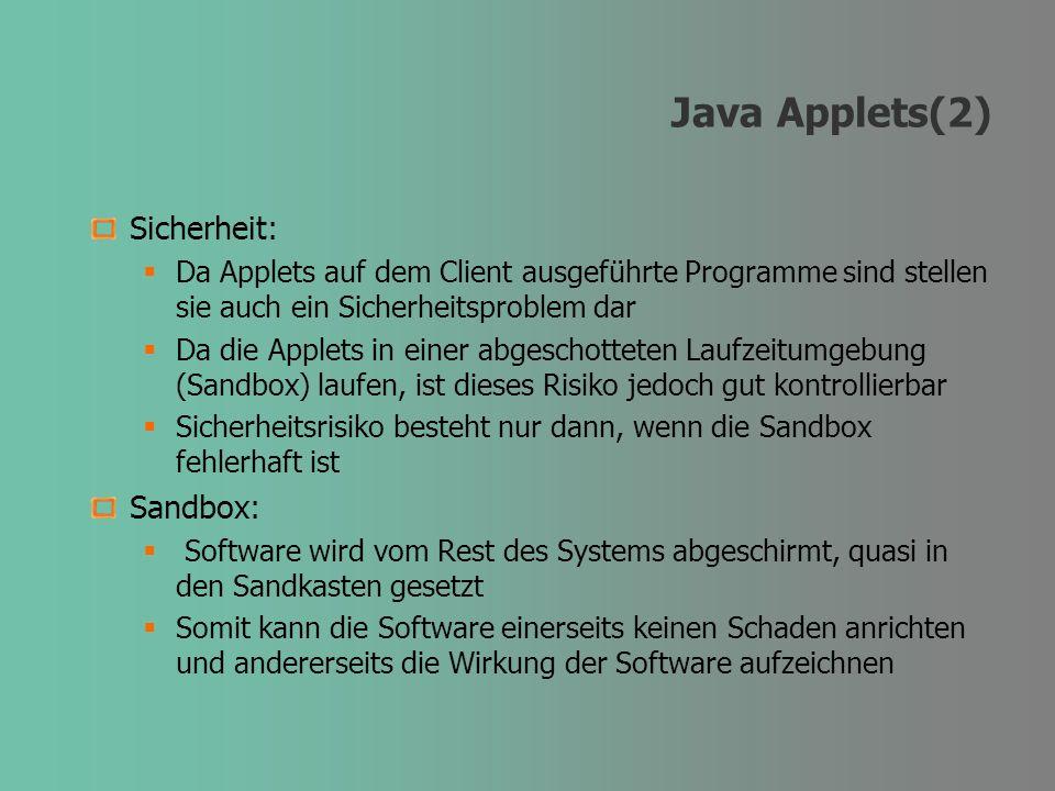 Java Applets(2) Sicherheit: Da Applets auf dem Client ausgeführte Programme sind stellen sie auch ein Sicherheitsproblem dar Da die Applets in einer a