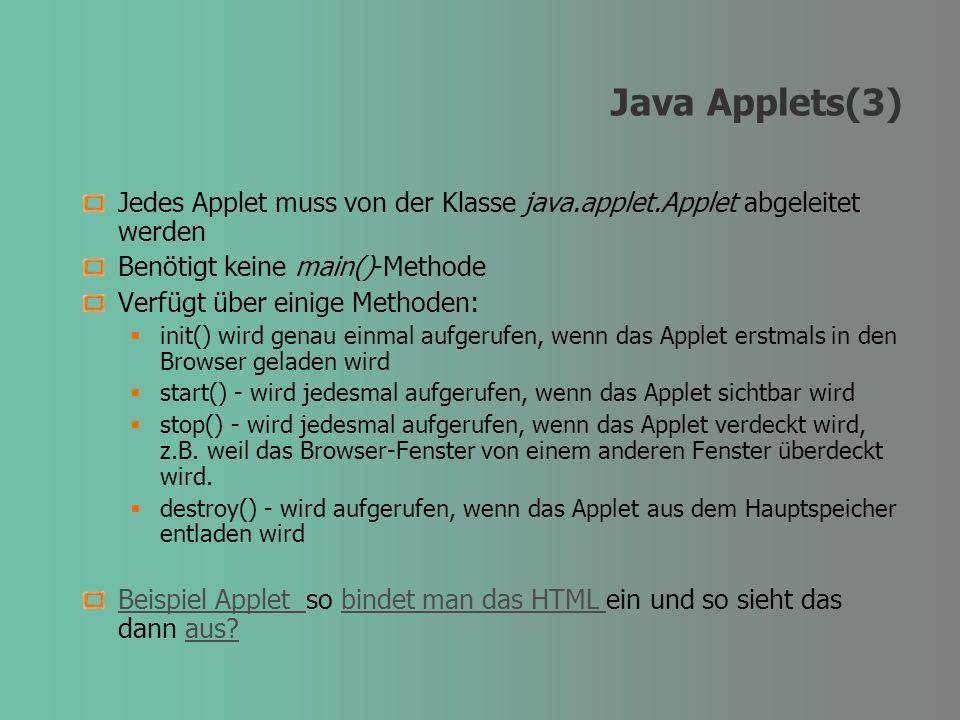 Java Applets(3) Jedes Applet muss von der Klasse java.applet.Applet abgeleitet werden Benötigt keine main()-Methode Verfügt über einige Methoden: init