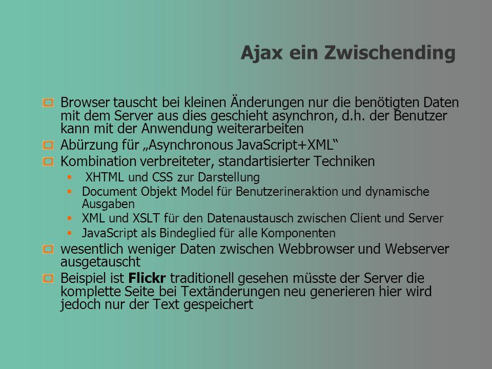 Ajax ein Zwischending Browser tauscht bei kleinen Änderungen nur die benötigten Daten mit dem Server aus dies geschieht asynchron, d.h. der Benutzer k