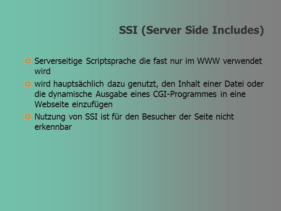 SSI (Server Side Includes) Serverseitige Scriptsprache die fast nur im WWW verwendet wird wird hauptsächlich dazu genutzt, den Inhalt einer Datei oder