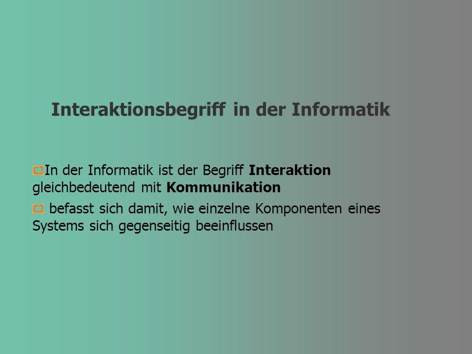 Interaktionsbegriff in der Informatik In der Informatik ist der Begriff Interaktion gleichbedeutend mit Kommunikation befasst sich damit, wie einzelne