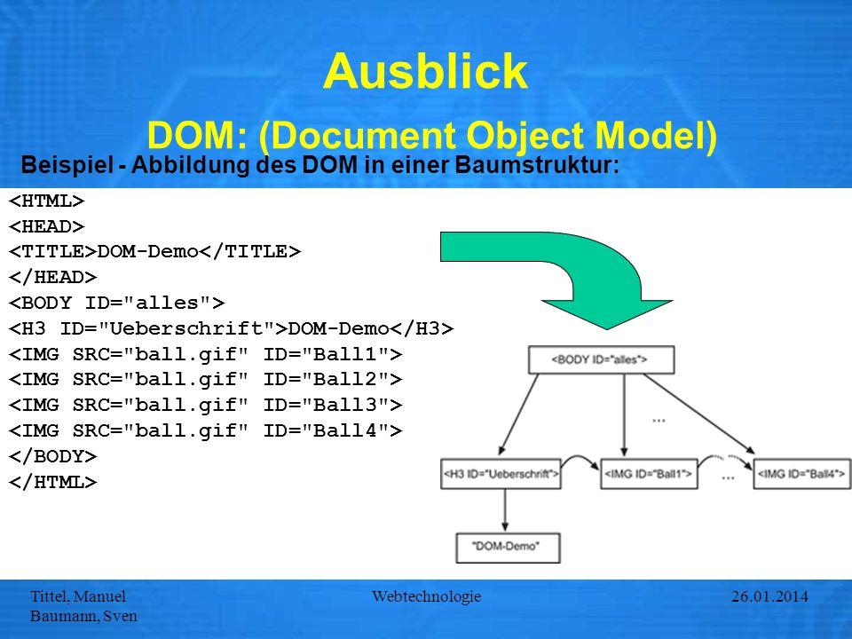 Tittel, Manuel Baumann, Sven Webtechnologie27.01.2014 Ausblick DOM: (Document Object Model) Beispiel - Abbildung des DOM in einer Baumstruktur: DOM-De