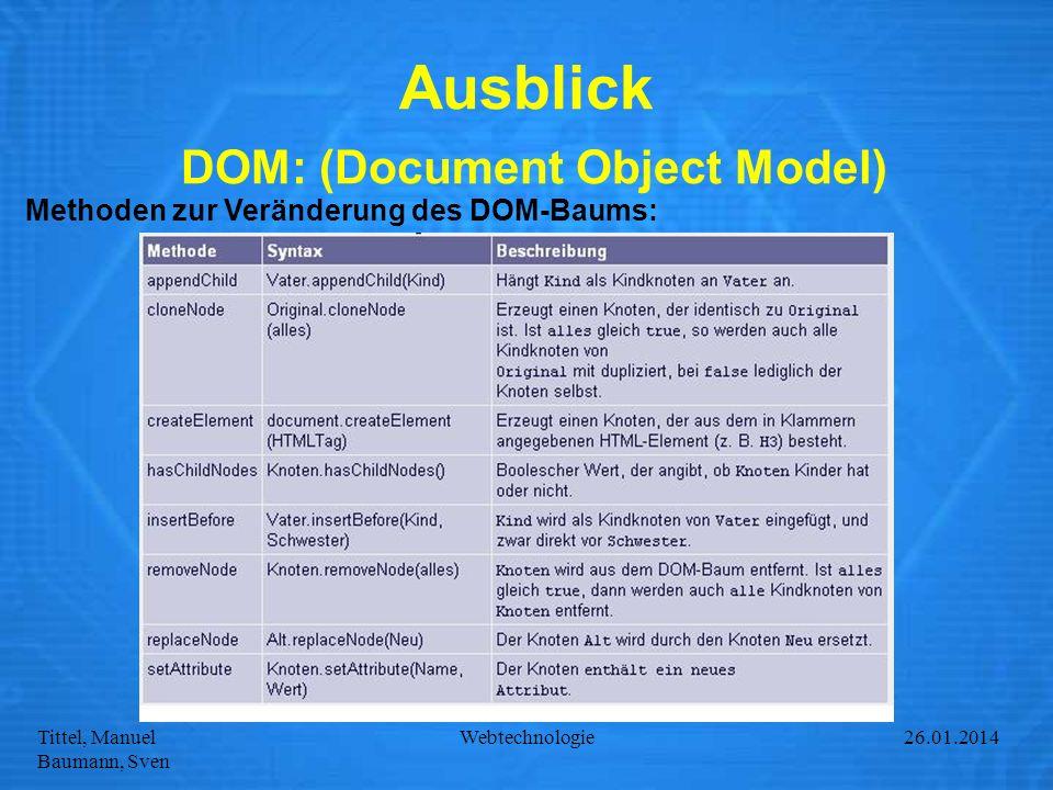 Tittel, Manuel Baumann, Sven Webtechnologie27.01.2014 Ausblick DOM: (Document Object Model) Methoden zur Veränderung des DOM-Baums: