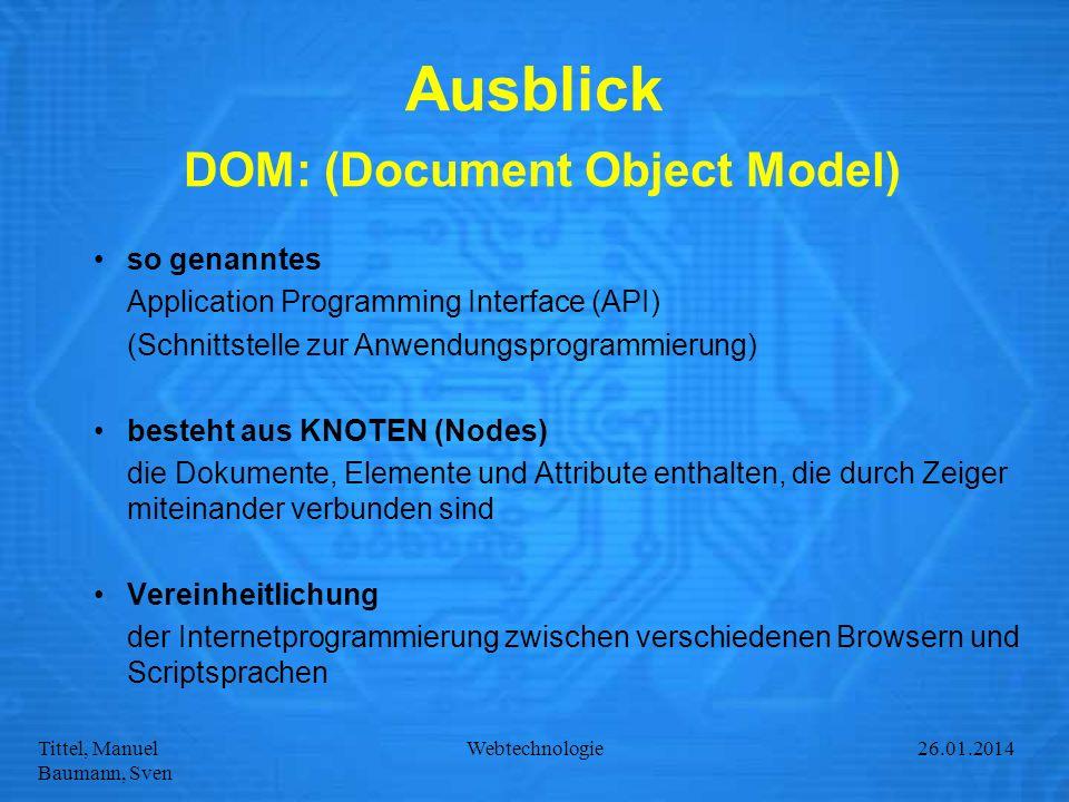 Tittel, Manuel Baumann, Sven Webtechnologie27.01.2014 Ausblick DOM: (Document Object Model) so genanntes Application Programming Interface (API) (Schn