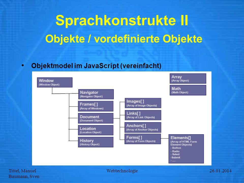 Tittel, Manuel Baumann, Sven Webtechnologie27.01.2014 Sprachkonstrukte II Objekte / vordefinierte Objekte Objektmodel im JavaScript (vereinfacht)