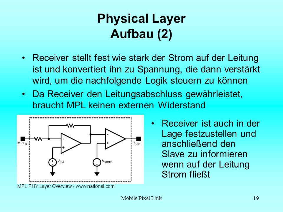Mobile Pixel Link19 Physical Layer Aufbau (2) Receiver ist auch in der Lage festzustellen und anschließend den Slave zu informieren wenn auf der Leitung Strom fließt Receiver stellt fest wie stark der Strom auf der Leitung ist und konvertiert ihn zu Spannung, die dann verstärkt wird, um die nachfolgende Logik steuern zu können Da Receiver den Leitungsabschluss gewährleistet, braucht MPL keinen externen Widerstand MPL PHY Layer Overview / www.national.com V REF V COMP S OUT MPL IN