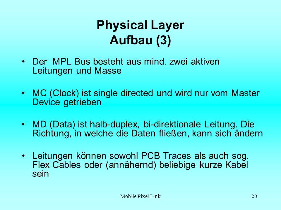 Mobile Pixel Link20 Physical Layer Aufbau (3) Der MPL Bus besteht aus mind.