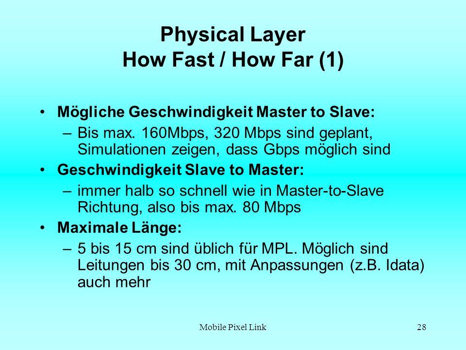 Mobile Pixel Link28 Physical Layer How Fast / How Far (1) Mögliche Geschwindigkeit Master to Slave: –Bis max.