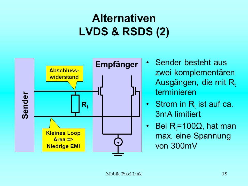 Mobile Pixel Link35 Alternativen LVDS & RSDS (2) Sender besteht aus zwei komplementären Ausgängen, die mit R t terminieren Strom in R t ist auf ca.