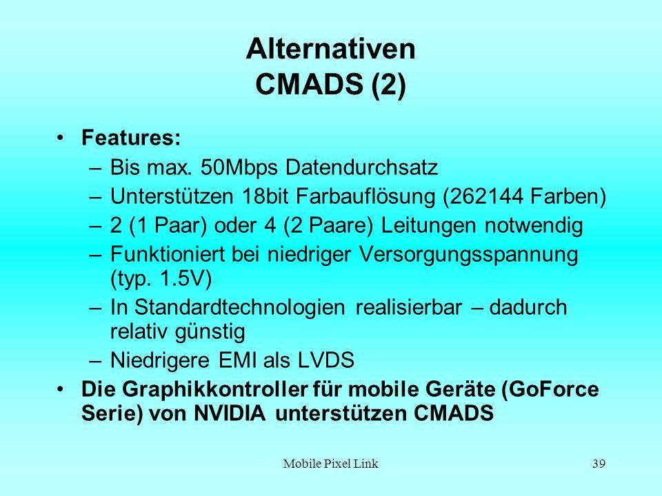 Mobile Pixel Link39 Alternativen CMADS (2) Features: –Bis max.