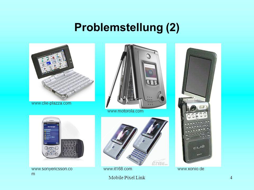 Mobile Pixel Link4 Problemstellung (2) www.it168.comwww.sonyericsson.co m www.xonio.de www.clie-plazza.com www.motorola.com