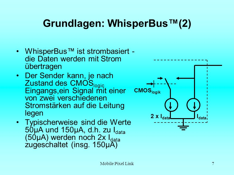 Mobile Pixel Link8 Grundlagen: WhisperBus(3) Der Empfänger konvertiert das Stromsignal in Spannung, die von der CMOS Logik benötigt wird Der Strom I data kann nicht in der OP fließen, daher fließt er in R G ein R G >>R Z0 Am Ausgang entsteht der Spannungsabfall V out + - + - + - R Z0 RGRG V out =R G.