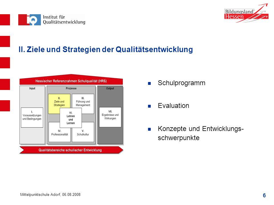 6 Mittelpunktschule Adorf, 06.08.2008 II. Ziele und Strategien der Qualitätsentwicklung Schulprogramm Evaluation Konzepte und Entwicklungs- schwerpunk