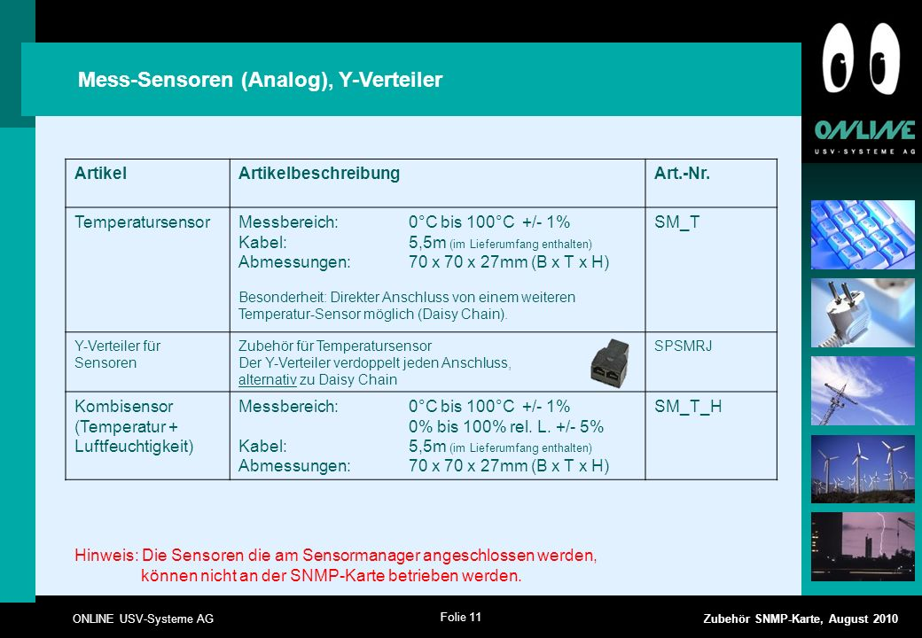 Folie 11 ONLINE USV-Systeme AG Zubehör SNMP-Karte, August 2010 Mess-Sensoren (Analog), Y-Verteiler ArtikelArtikelbeschreibungArt.-Nr.