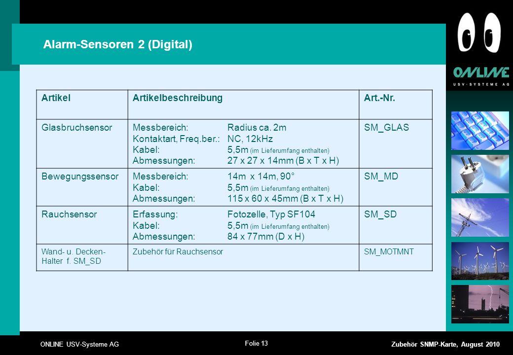 Folie 13 ONLINE USV-Systeme AG Zubehör SNMP-Karte, August 2010 Alarm-Sensoren 2 (Digital) ArtikelArtikelbeschreibungArt.-Nr.