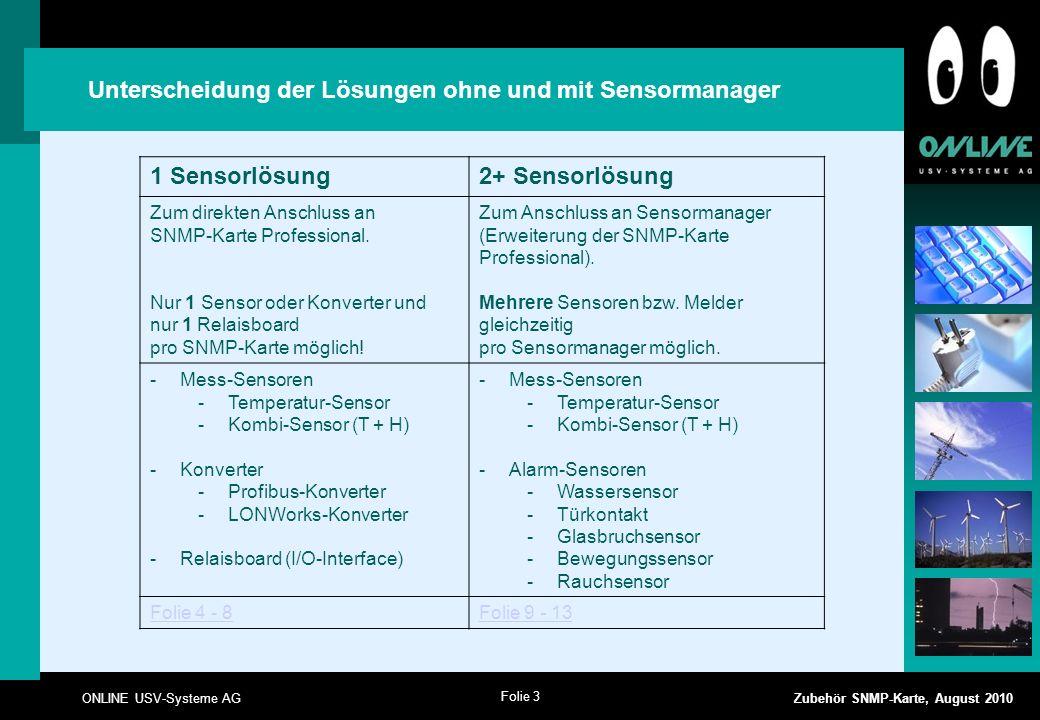 Folie 3 ONLINE USV-Systeme AG Zubehör SNMP-Karte, August 2010 Unterscheidung der Lösungen ohne und mit Sensormanager 1 Sensorlösung2+ Sensorlösung Zum direkten Anschluss an SNMP-Karte Professional.