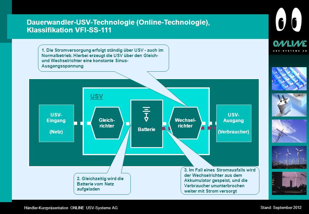 Händler-Kurzpräsentation ONLINE USV-Systeme AG Stand: September 2012 Dauerwandler-USV-Technologie (Online-Technologie), Klassifikation VFI-SS-111 USV-