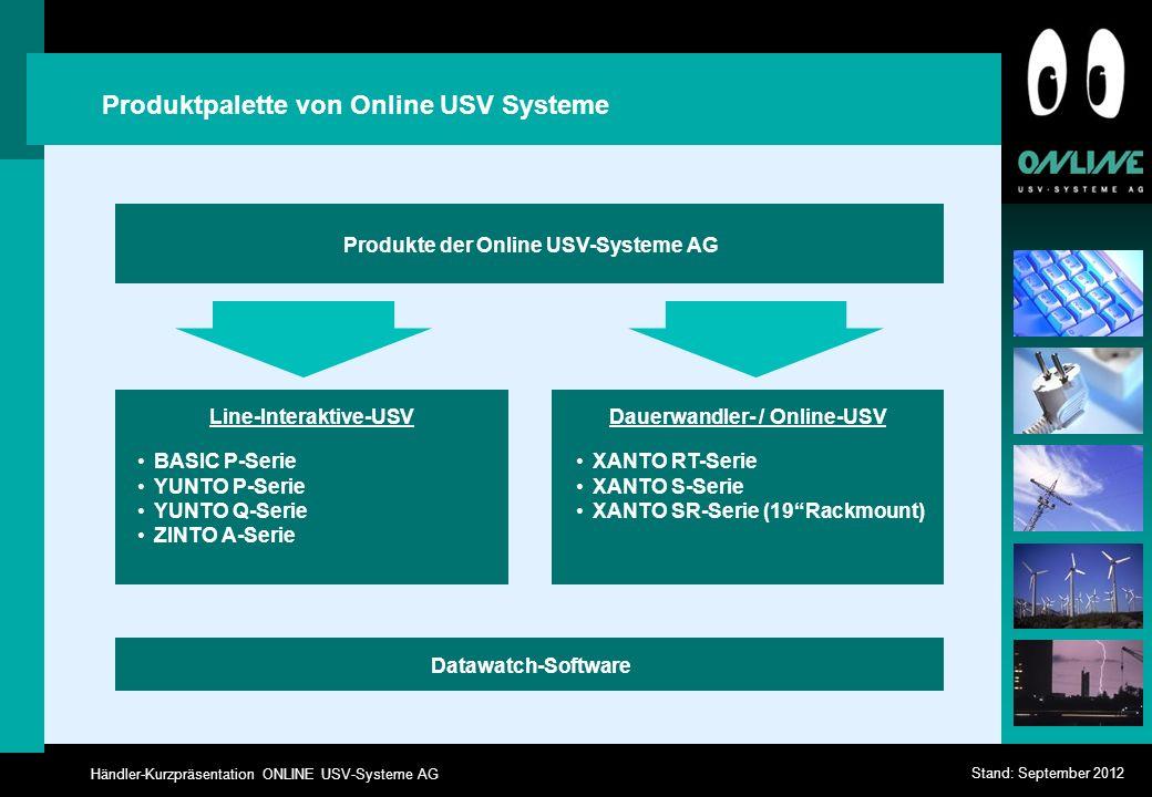 Händler-Kurzpräsentation ONLINE USV-Systeme AG Stand: September 2012 Produktpalette von Online USV Systeme Produkte der Online USV-Systeme AG Datawatc