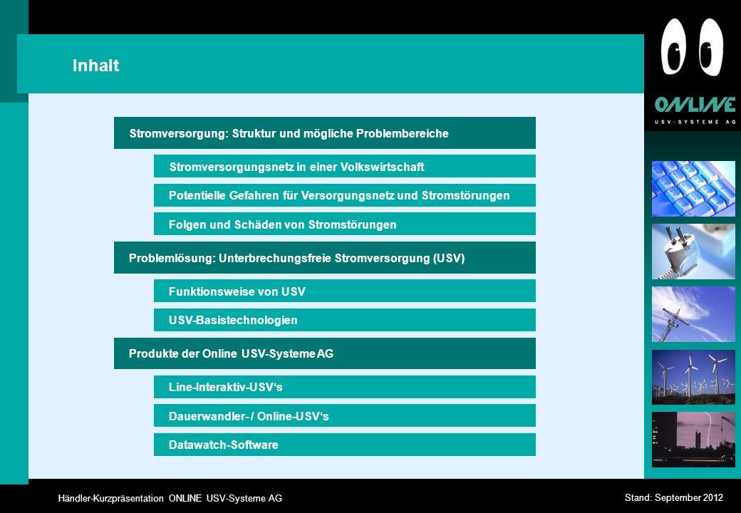 Händler-Kurzpräsentation ONLINE USV-Systeme AG Stand: September 2012 Folgen und Schäden von Stromstörungen Stromversorgungsnetz in einer Volkswirtscha