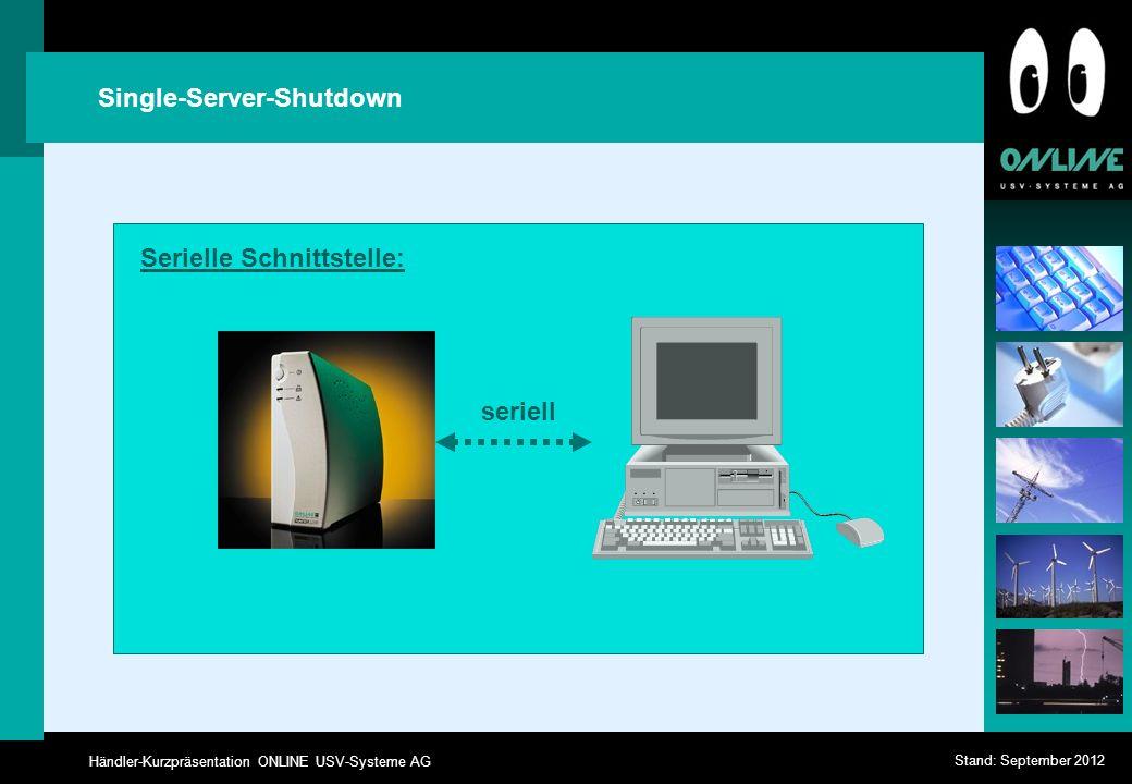 Händler-Kurzpräsentation ONLINE USV-Systeme AG Stand: September 2012 Single-Server-Shutdown seriell Serielle Schnittstelle: