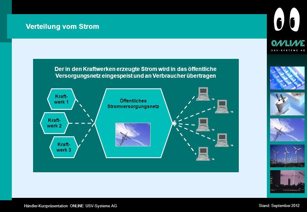 Händler-Kurzpräsentation ONLINE USV-Systeme AG Stand: September 2012 Verteilung vom Strom Der in den Kraftwerken erzeugte Strom wird in das öffentlich