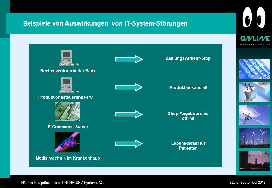 Händler-Kurzpräsentation ONLINE USV-Systeme AG Stand: September 2012 Produktionsausfall Beispiele von Auswirkungen von IT-System-Störungen Rechenzentr