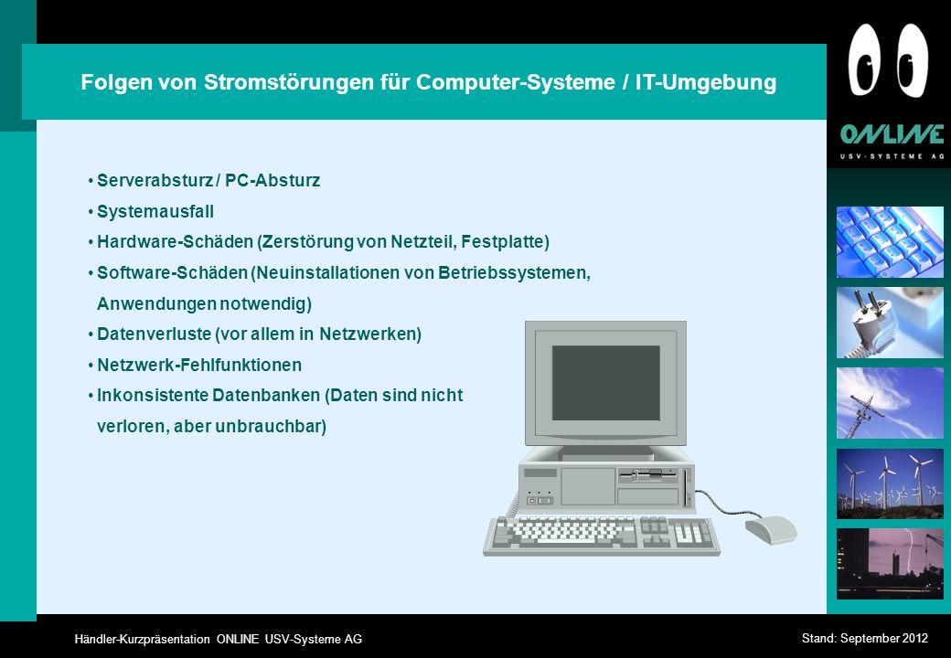 Händler-Kurzpräsentation ONLINE USV-Systeme AG Stand: September 2012 Serverabsturz / PC-Absturz Systemausfall Hardware-Schäden (Zerstörung von Netztei