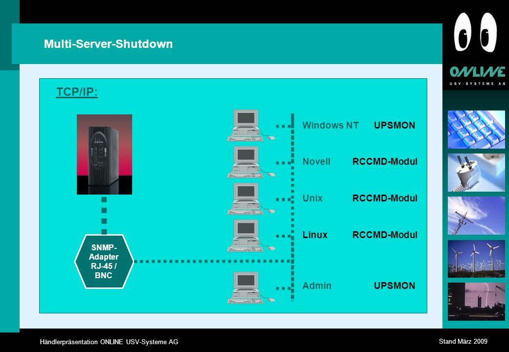 Händlerpräsentation ONLINE USV-Systeme AG Stand März 2009 Multi-Server-Shutdown Windows NT Linux Novell Unix Admin UPSMON RCCMD-Modul UPSMON RCCMD-Modul SNMP- Adapter RJ-45 / BNC TCP/IP: