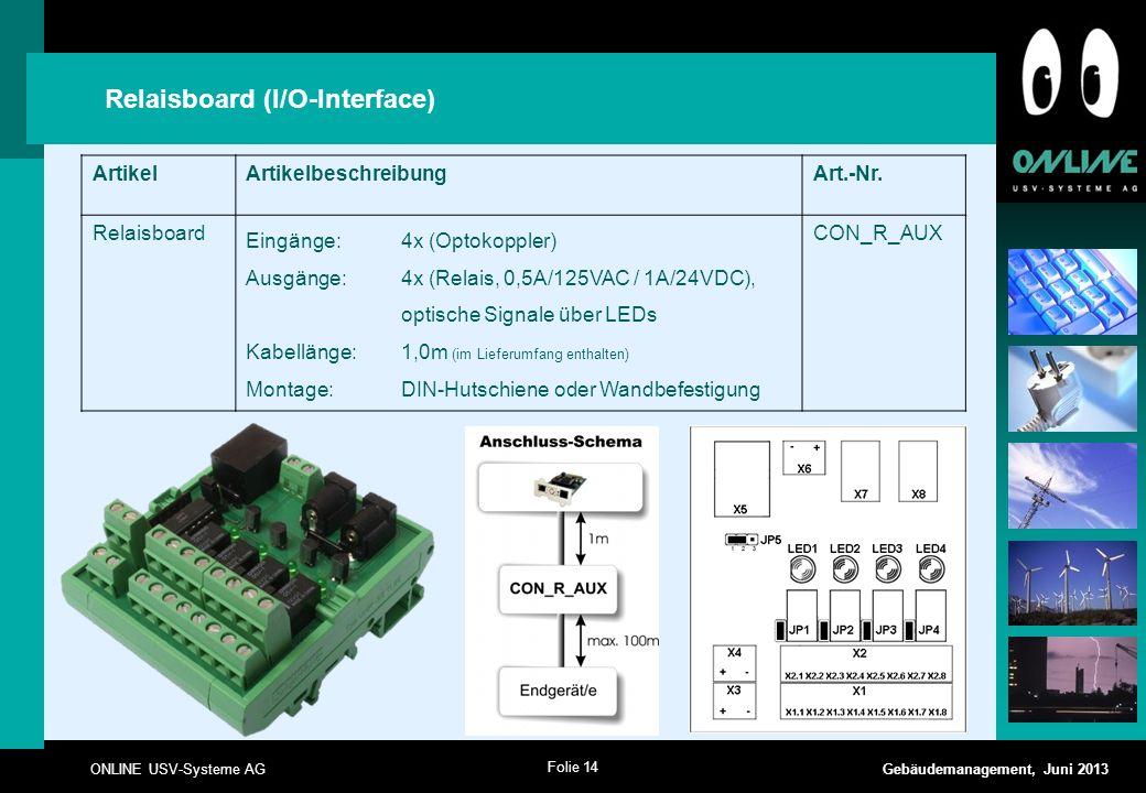 Folie 14 ONLINE USV-Systeme AG Gebäudemanagement, Juni 2013 Relaisboard (I/O-Interface) ArtikelArtikelbeschreibungArt.-Nr. Relaisboard Eingänge:4x (Op