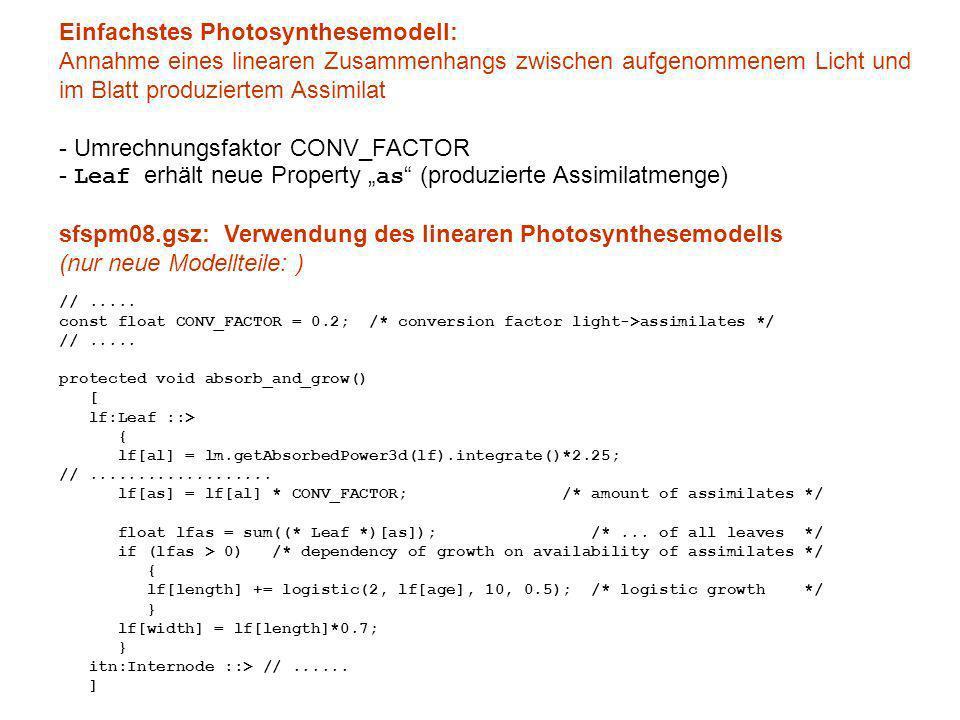 Einfachstes Photosynthesemodell: Annahme eines linearen Zusammenhangs zwischen aufgenommenem Licht und im Blatt produziertem Assimilat - Umrechnungsfaktor CONV_FACTOR - Leaf erhält neue Property as (produzierte Assimilatmenge) sfspm08.gsz: Verwendung des linearen Photosynthesemodells (nur neue Modellteile: ) //.....