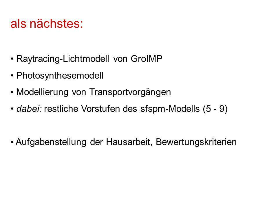 als nächstes: Raytracing-Lichtmodell von GroIMP Photosynthesemodell Modellierung von Transportvorgängen dabei: restliche Vorstufen des sfspm-Modells (5 - 9) Aufgabenstellung der Hausarbeit, Bewertungskriterien