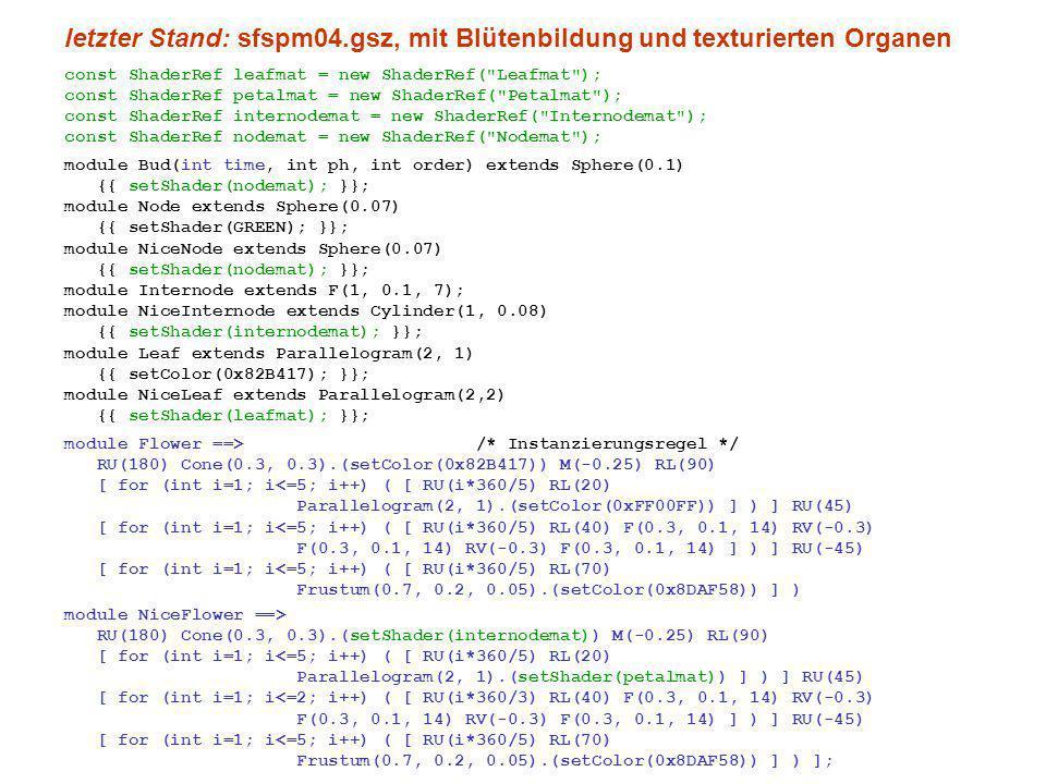 letzter Stand: sfspm04.gsz, mit Blütenbildung und texturierten Organen const ShaderRef leafmat = new ShaderRef( Leafmat ); const ShaderRef petalmat = new ShaderRef( Petalmat ); const ShaderRef internodemat = new ShaderRef( Internodemat ); const ShaderRef nodemat = new ShaderRef( Nodemat ); module Bud(int time, int ph, int order) extends Sphere(0.1) {{ setShader(nodemat); }}; module Node extends Sphere(0.07) {{ setShader(GREEN); }}; module NiceNode extends Sphere(0.07) {{ setShader(nodemat); }}; module Internode extends F(1, 0.1, 7); module NiceInternode extends Cylinder(1, 0.08) {{ setShader(internodemat); }}; module Leaf extends Parallelogram(2, 1) {{ setColor(0x82B417); }}; module NiceLeaf extends Parallelogram(2,2) {{ setShader(leafmat); }}; module Flower ==> /* Instanzierungsregel */ RU(180) Cone(0.3, 0.3).(setColor(0x82B417)) M(-0.25) RL(90) [ for (int i=1; i<=5; i++) ( [ RU(i*360/5) RL(20) Parallelogram(2, 1).(setColor(0xFF00FF)) ] ) ] RU(45) [ for (int i=1; i<=5; i++) ( [ RU(i*360/5) RL(40) F(0.3, 0.1, 14) RV(-0.3) F(0.3, 0.1, 14) RV(-0.3) F(0.3, 0.1, 14) ] ) ] RU(-45) [ for (int i=1; i<=5; i++) ( [ RU(i*360/5) RL(70) Frustum(0.7, 0.2, 0.05).(setColor(0x8DAF58)) ] ) module NiceFlower ==> RU(180) Cone(0.3, 0.3).(setShader(internodemat)) M(-0.25) RL(90) [ for (int i=1; i<=5; i++) ( [ RU(i*360/5) RL(20) Parallelogram(2, 1).(setShader(petalmat)) ] ) ] RU(45) [ for (int i=1; i<=2; i++) ( [ RU(i*360/3) RL(40) F(0.3, 0.1, 14) RV(-0.3) F(0.3, 0.1, 14) RV(-0.3) F(0.3, 0.1, 14) ] ) ] RU(-45) [ for (int i=1; i<=5; i++) ( [ RU(i*360/5) RL(70) Frustum(0.7, 0.2, 0.05).(setColor(0x8DAF58)) ] ) ];