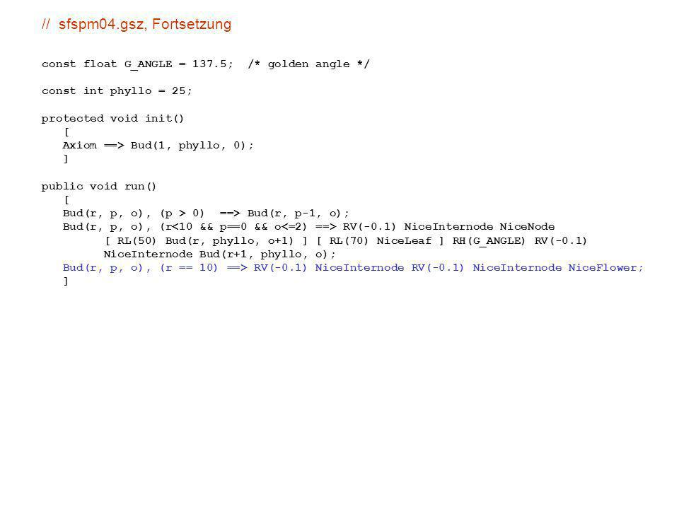 benötigt für Assimilatverteilung: Modellierung von Transportvorgängen Modellansatz: Substrat fließt von Elementen mit hoher Konzentration in benachbarte Elemente mit niedriger Konzentration (Prinzip der Diffusion) Beispiel: sm09_b41.rgg(Substratkonzentration hier durch den Durchmesser visualisiert)