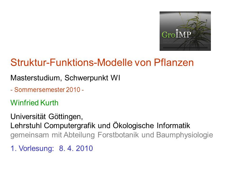 Struktur-Funktions-Modelle von Pflanzen Masterstudium, Schwerpunkt WI - Sommersemester 2010 - Winfried Kurth Universität Göttingen, Lehrstuhl Computer