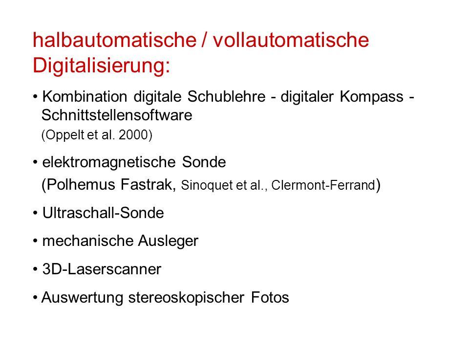 halbautomatische / vollautomatische Digitalisierung: Kombination digitale Schublehre - digitaler Kompass - Schnittstellensoftware (Oppelt et al. 2000)