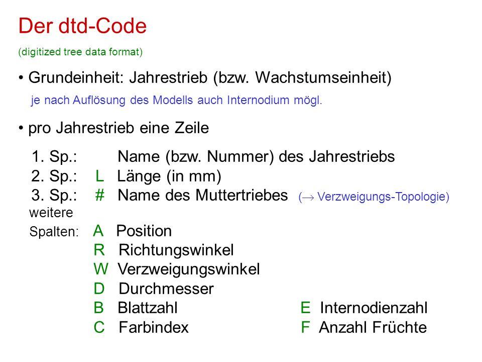 Der dtd-Code (digitized tree data format) Grundeinheit: Jahrestrieb (bzw. Wachstumseinheit) je nach Auflösung des Modells auch Internodium mögl. pro J
