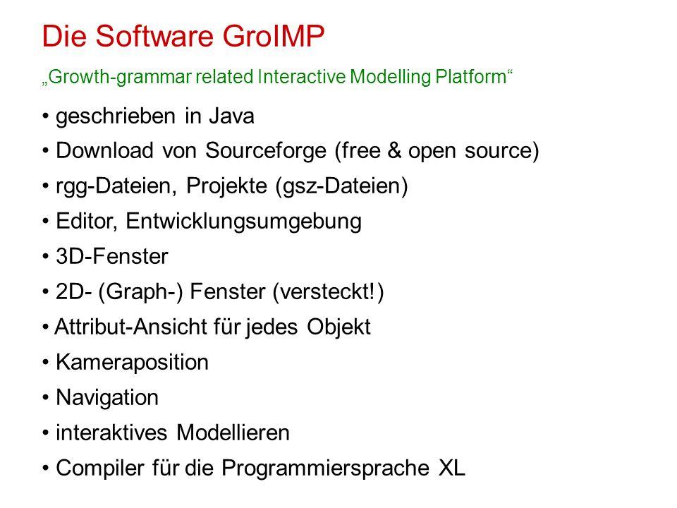 Die Software GroIMP Growth-grammar related Interactive Modelling Platform geschrieben in Java Download von Sourceforge (free & open source) rgg-Dateie