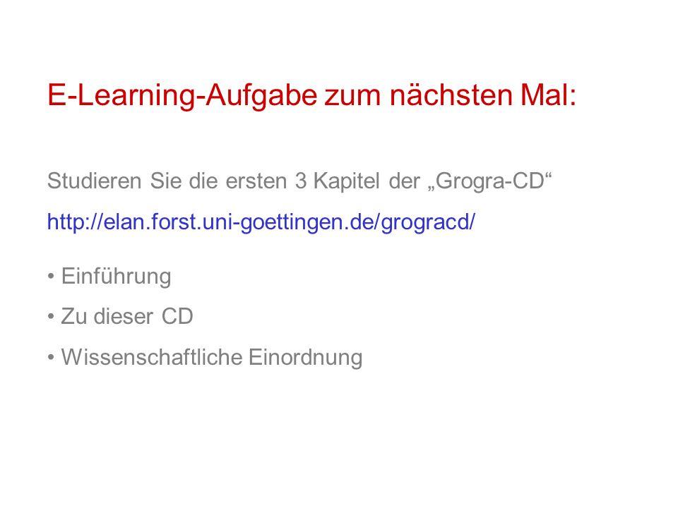 E-Learning-Aufgabe zum nächsten Mal: Studieren Sie die ersten 3 Kapitel der Grogra-CD http://elan.forst.uni-goettingen.de/grogracd/ Einführung Zu dies