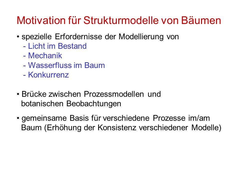 Motivation für Strukturmodelle von Bäumen spezielle Erfordernisse der Modellierung von - Licht im Bestand - Mechanik - Wasserfluss im Baum - Konkurren
