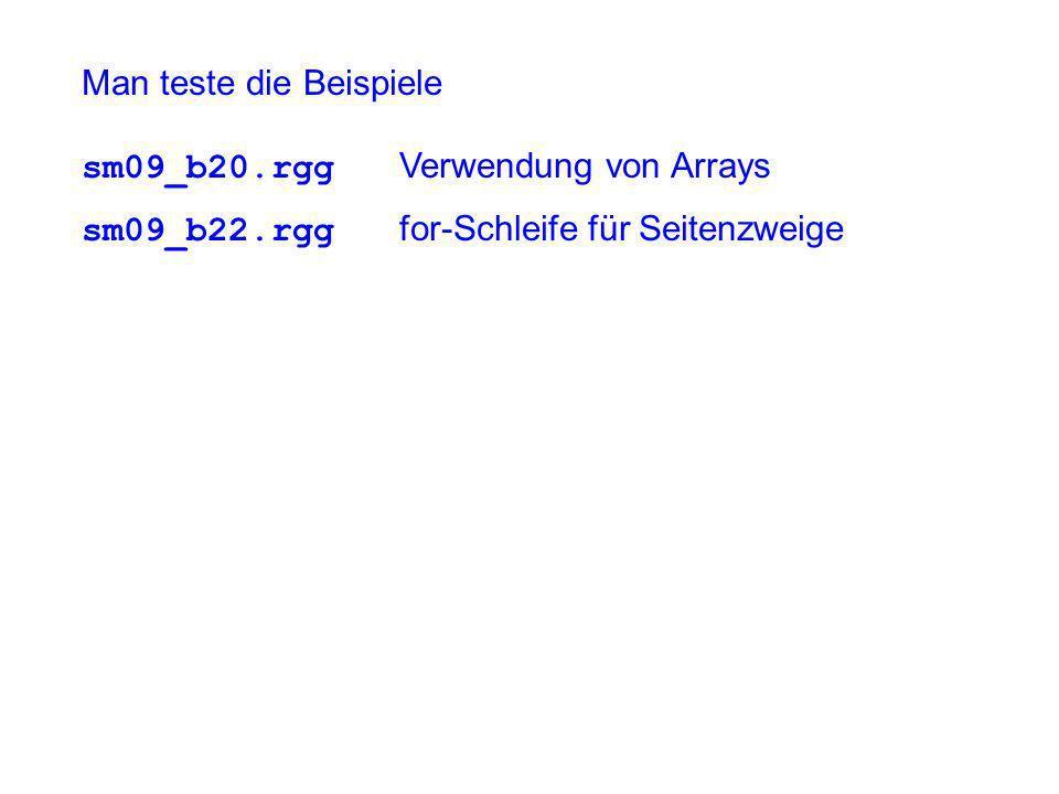 Man teste die Beispiele sm09_b20.rgg Verwendung von Arrays sm09_b22.rgg for-Schleife für Seitenzweige