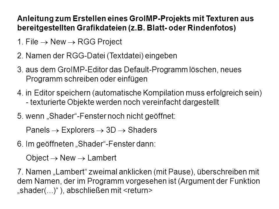 Anleitung zum Erstellen eines GroIMP-Projekts mit Texturen aus bereitgestellten Grafikdateien (z.B.