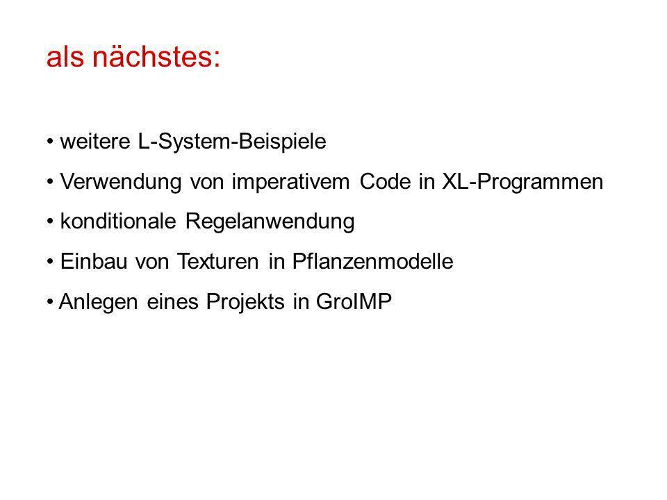 als nächstes: weitere L-System-Beispiele Verwendung von imperativem Code in XL-Programmen konditionale Regelanwendung Einbau von Texturen in Pflanzenmodelle Anlegen eines Projekts in GroIMP